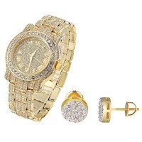 Designer Rapper Hip Hop Bling Gold Finish Techno Pave Watch & Earrings Combo