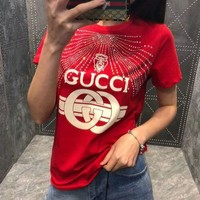 Gucci Hot Sale Fashionable Women Casual Print Diamond Crystal Short Sleeve T-Shirt Top Red I/A