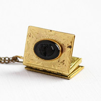 Vintage Book Locket - Gold Tone Black Lucite Cameo Pendant Necklace - 1940s Black & White Soldier Photos Sweetheart 6 Page Storybook Jewelry