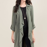 Darcy Draped Twill Duster