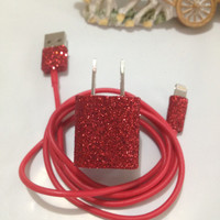 Customized Glitter I Phone 4/4S IPhone 5 Samsung GalaxyCharger In different colors glitter & 3 in 1 Charger