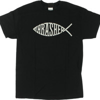 Thrasher Fish Tee  Large Black/Silver