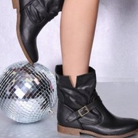 Black Faux Leather Buckle Strap Slit Side Flat Boots @ Amiclubwear Boots Catalog:women's winter boots,leather thigh high boots,black platform knee high boots,over the knee boots,Go Go boots,cowgirl boots,gladiator boots,womens dress boots,skirt boots,pink