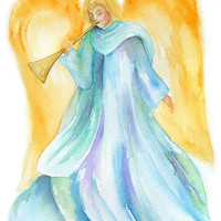 Angel Watercolor Christmas Card - Set of 10 - 5 x 7