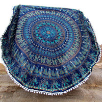 Boho Pompom Trim Print Indian Round Mandala Tapestry Wall Hanging Throw Towel Beach Yoga Mat Decor Boho 11920 Diameter 150cm
