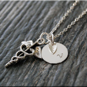 Silver Caduceus Charm Necklace, Initial Charm Necklace, Personalized Necklace, Caduceus Charm, Caduceus Pendant, Medical Field Jewelry