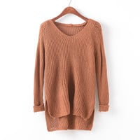 Knit Tops V-neck Hollow Out Pullover Irregular Sweater [9067781956]