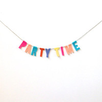 Party Time felt banner, surprise banner in pink, orange, blue, purple and yellow