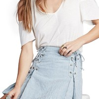 Free People Railroad Stripe Lace-Up Miniskirt | Nordstrom