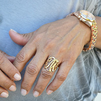 Monogram Script Initial Letter Ring Gold Silver