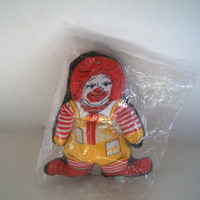 Vintage Ronald McDonald Fabric Plush Toy New Old Stock In Original Bag 1980s