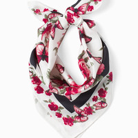 White House Black Market Living Beyond Breast Cancer Silk Butterfly Print Mini Scarf