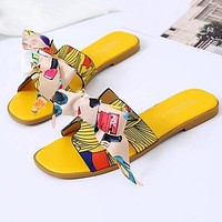 Hermes Fashion Women Casual Leather Bowknot Slippers Sandals Shoes Yellow