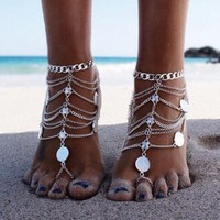 Tribal Coin Tassel Multideck Anklet with Toe Ring