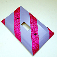 Single Light Switch Plate Cover--Hot pink glitter stripes with periwinkle, purple, violet colorful, sparkly