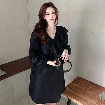 French Loose Solid Ruffle V-Neck Puff Sleeve A-line Knee-Length Dress for Women