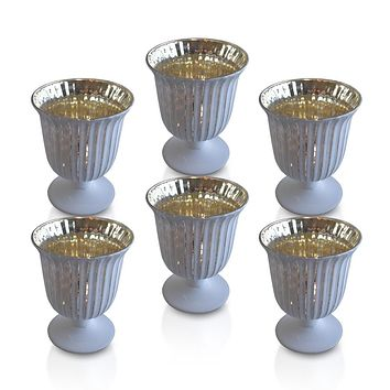6 Pack | Vintage Mercury Glass Candle Holders (5-Inch, Emma Design, Fluted Urn, Antique White) - Decorative Candle Holder - For Home Decor, Party Decorations, and Wedding Centerpieces