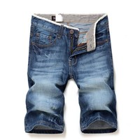 Knee Length Men's solid color 100%Cotton Straight denim shorts New summer male daily casual slim short jeans size 28-38