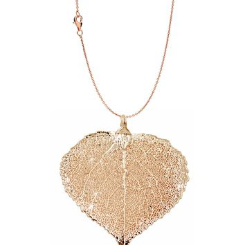 Real Leaf PENDANT with Chain ASPEN Dipped in Rose Gold Genuine Leaf Necklace
