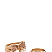 FOREVER 21 Bow Midi Ring Set Gold/Peach