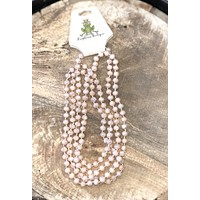 Nude long beaded necklace
