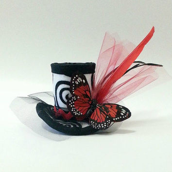 Mini Top Hat, Fascinator, Mad Hatter Hat, Red and Black Hat, Butterfly, Gothic, Children's Hat, Woman's Hat