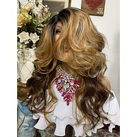 """CARMEL HONEY BROWN #27/30 mix 22"""" Body Curl layered Lace Front wig *Ready to wear+ *Fabulous *invisible hairline *natural *human hair blend"""