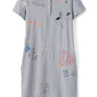 Grey Buttons Neckline Cartoon Character Embroidered Dress