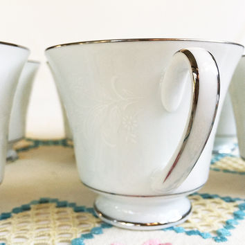 """Noritake """"Ranier"""" 6909 Footed Cups, White Floral on White with Platinum Trim, Replacement China,"""