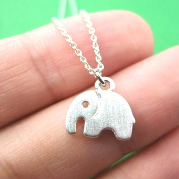 Simple Elephant Shaped Abstract Animal Charm Necklace in Silver | DOTOLY
