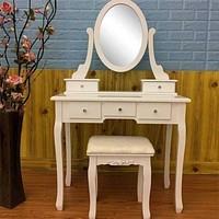 Makeup Dressing Table With 5 Drawer Mirror Bulb Vanity Set not With Lighted Mirror Cushioned Stool Dressing Table Makeup Table
