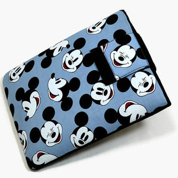 Tablet Case, iPad Cover, Mickey Mouse, Head Toss, Kindle Fire Cover,  7, 8, 9, 10 inch Tablet Sleeve, Cozy, Handmade, FOAM Padding, Blue