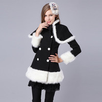 Elegant Fashion Women Double-breasted Slim Stand Collar Wraps Wool Coat