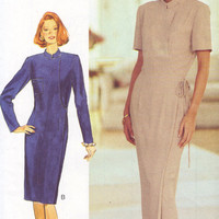 Butterick Sewing Pattern Modern Style Classic Wrap Dress Designer Fashion Standing Collar Uncut FF Bust 34