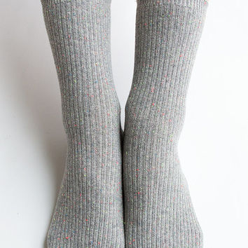 Women New Must Have Hezwagarcia Gray Color Bocasi Colorful Threads Basic Essential Cotton Ankle Socks