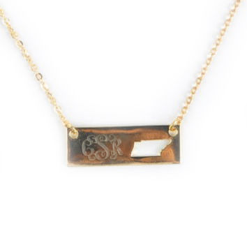 Monogrammed Golden Tennessee Name Plate Necklace | Accessories | Marley Lilly