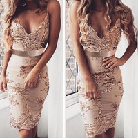 Fashion Harness Deep V Strap Bodycon Sequin Mini Dress