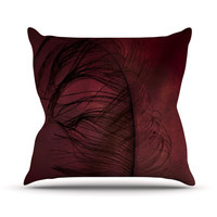 "Robin Dickinson ""Plumtickled"" Maroon Red Throw Pillow"