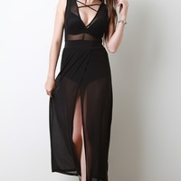 Semi-Sheer Mesh Crisscross V-Neck Maxi Dress