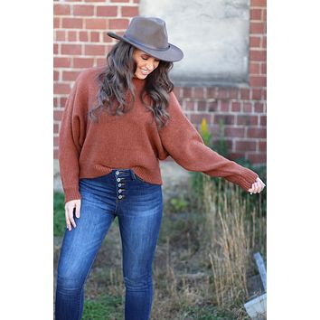 {Hazelnut} Soft Dolman Sleeve Sweater