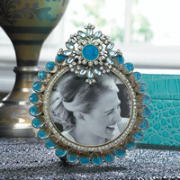 Regal Royal Turquoise Embellished Jeweled Photo Frame