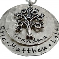 Hand Stamped Sterling Silver Family Tree Necklace