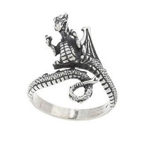 Silvermoon Sterling Silver Adjustable Dragon Ring | Overstock.com