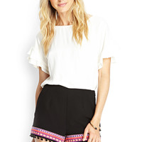 Embroidered Trim Woven Shorts