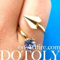 Adjustable Origami Paper Airplane Wrap Ring in Gold with Gemstone Detail