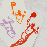2x5 Inch Basketball Insignia Jumpshot Athletic Graphic Permanent Vinyl Decal/Bumper Sticker