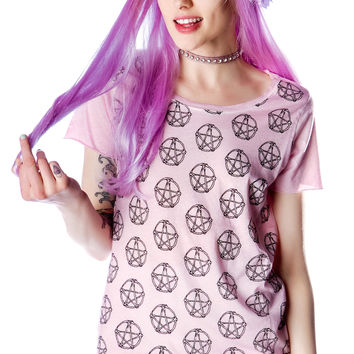 Voodoo Girl All Over Logo Tee Washed Pink