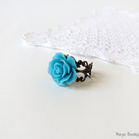 Blue Rose Cabochon Ring - Antique Brass Filigree Adjustable Ring
