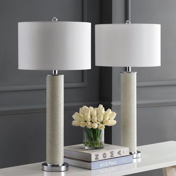 Safavieh Lighting 31.5-inch Ollie Faux Snakeskin Cream Table Lamp (Set of 2) | Overstock.com Shopping - The Best Deals on Lamp Sets