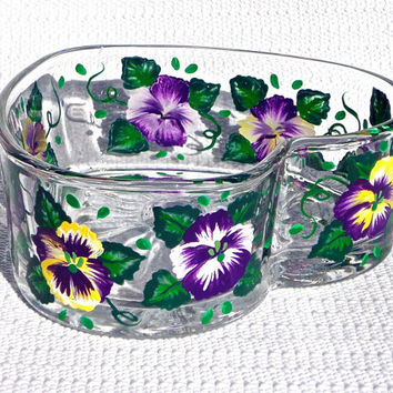 Painted Heart Bowl With Purple Pansies, Easter Gift, Mothers Day Gift, Home Decor, Spring Flowers, Gifts For Her